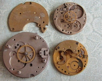 Vintage Antique Watch movements parts Steampunk - Scrapbooking p4