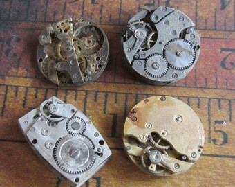 Featured - Steampunk supplies - Watch movements - Vintage Antique Watch movements Steampunk - Scrapbooking o27
