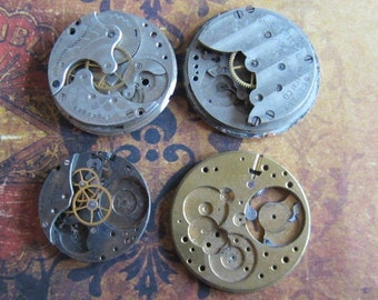 Vintage Antique Pocket Watch movements parts Steampunk - Scrapbooking p64
