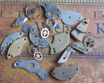 Vintage WATCH PARTS gears - Steampunk parts - f82 Listing is for all the watch parts seen in photos