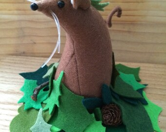 Felt Mouse in a Leaf Pile  soft sculpture  decoration