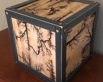 Iron Clad Lichtenberg Patterns- High Voltage Burnt Pine and Steel Tabletop Sculpture No. 3