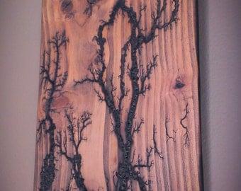 Lichtenberg High Voltage Wall Art in Douglas Fir