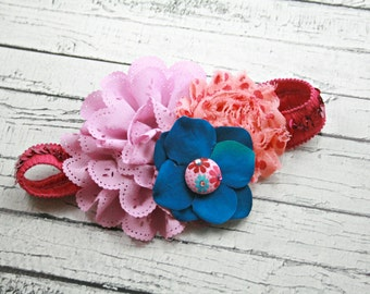 Purple pink coral turquoise teal polka dot child headband
