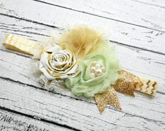 Mint gold ivory lace glitter headband- gold chevron