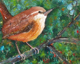 Wren Painting Songbird Portrait Contemporary Fine Art 12x12 Acrylic on Canvas Woodland Green Brown Bird Colorful Original Small Format Art