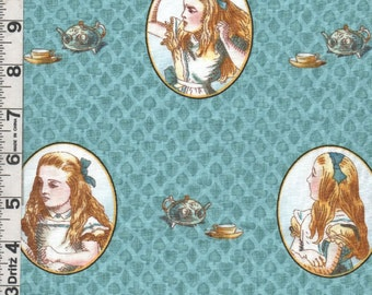 Fabric Quilting Treasures ALICE in WONDERLAND Cameos portraits of Alice on aqua with Teapots and cups