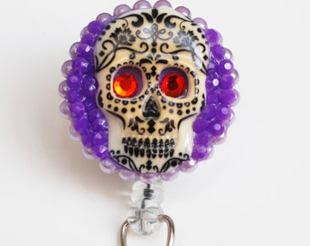 Dia De Los Muertos ID Badge Reel - Retractable ID Badge Holder - Zipperedheart