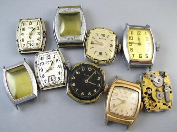 FOR PARTS Antique vintage Art Deco MENS wrist watch supply destash steampunk assemblage Kelton Nurist Ingraham Pal Yankee U S Time