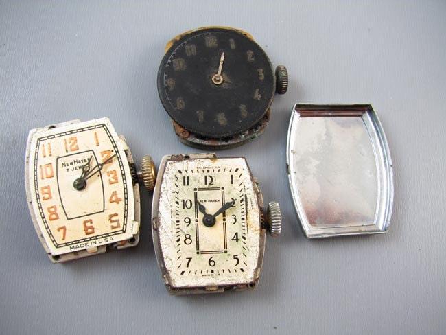 FOR PARTS Antique vintage Art Deco MENS wrist watch supply destash steampunk assemblage Ingraham Pal Westclox Ingersoll New Haven Kelton