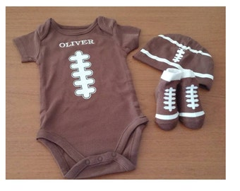 Baby Football Set - Personalized - Embroidered Onesie - Embroidered Football Beanie - Football Booties - Little Fan From Head to Toe