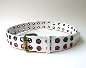 60s vintage Mod White Vinyl Belt with Red and Blue Grommets / Double Prong White Vinyl Belt