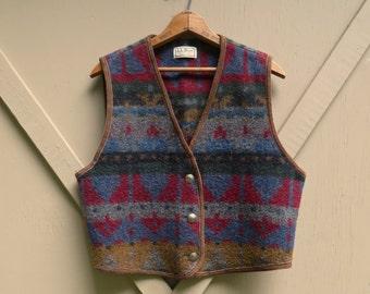 vintage L.L. Bean Southwestern Woolen Vest with Brown Suede Trim