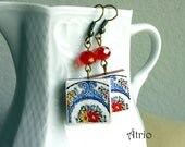 Portugal Alcobaca Pottery Dish  Earrings,  Waterproof and Reversible - Cobalt Blue 255