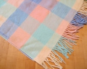 Vintage Pastel Plaid Wool or Angora Baby Blanket Pink blue Green Plaid Blanket Fringed Blanket