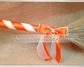 Classic Jump Broom Made in Your Custom Colors with Rhinestone Accent ..shown in ivory/orange