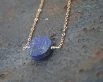 Raw Lapis Lazuli Disc 14 K Gold Filled Layering Necklace