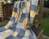 Rag Quilt, YOU CHOOSE SIZE, Sweet as Honey fabrics, Brown Gold Peach & Green, comfy cozy handmade bedding, king queen full twin shams
