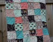Crib or Toddler, Rag Quilt, YOU CHOOSE SIZE, Winged in Southern fabrics, plum coral and aqua, comfy cozy handmade baby,  shams