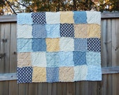 Baby Quilt boy, Crib or Toddler, Rag Quilt, YOU CHOOSE SIZE, Swank fabrics, Navy Mustard and Gray, comfy cozy handmade baby, modern quilt