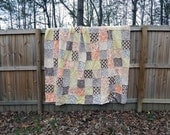 Queen Quilt, King Quilt, Rag Quilt, YOU CHOOSE SIZE, Sweet as Honey in autumn fabrics, peach brown chartreuse, comfy cozy handmade bedding
