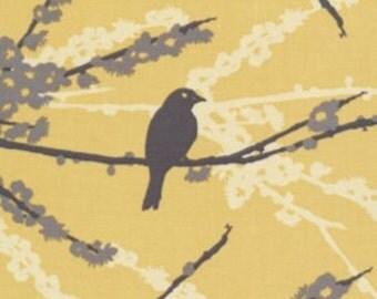 1 HALF YARD Sparrows in Vintage Yellow by Joel Dewberry