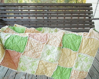 Rag Quilt, YOU CHOOSE SIZE, Sweet Fancy fabrics, Peach Pink Yellow and Green, comfy cozy handmade bedding, king queen full twin shams