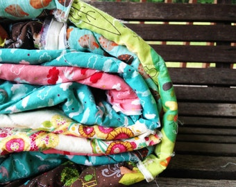 Full Quilt, Twin Quilt, Rag Quilt, YOU CHOOSE SIZE, Happy Woods fabrics, brown pink aqua and green, comfy cozy handmade bedding