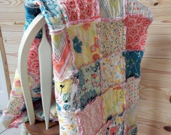 Baby Girl Quilt, Crib or Toddler, Rag Quilt, YOU CHOOSE SIZE, Rapture fabrics, pink yellow and aqua, comfy cozy handmade baby,  shams