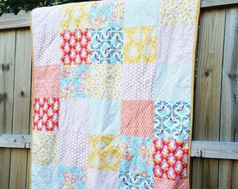 Patchwork Quilt Quilt, crib or toddler quilt, Honey Honey fabrics, red orange aqua and gold, comfy cozy handmade baby bedding, girl
