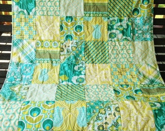 Patchwork Quilt, baby quilt, crib or toddler quilt, Notting Hill in teal fabrics, teal green and yellow, comfy cozy handmade bedding, boy