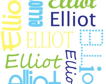 Personalized Name Fabric, Custom Colors, Boy fonts