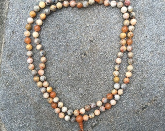 Old Crazy Lace Agate 108 Bead Mala Necklace