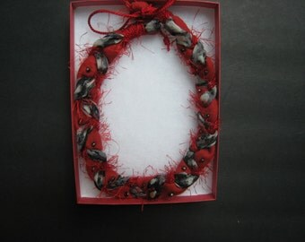 Ohio State University Buckeye Necklace Scarlet and Gray