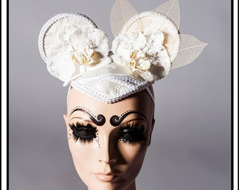 SALE 15% OFF Sweetness…. Mouse Ears in White and Cream Headdress