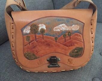 Vintage Handpainted Brown Leather Landscape Shoulder Bag Tooled Initials J S