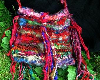shoulder bag handknit fiber art yarn silk gypsy boho bag - passing thru here bag