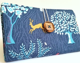 Woodland Tampon and Pad Holder in Denim Blue Forest and Deer Handmade Privacy Wallet - Woodland Stag