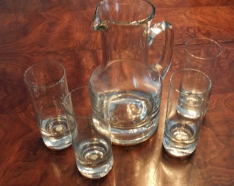 Leaded Glass Pitcher and 4 Glasses