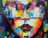 Large Original Female Portrait Oil Painting On Canvas, Size 32x32 inches