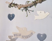 Small Memorial Hearts and Doves Wind Chime Personalized