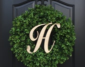Boxwood Wreath, Monogram Year Round Wreath, Outdoor Door Wreaths, Fall Wreaths, Monogram Boxwood, Artificial Boxwood Wreath, Faux Boxwood