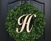 Boxwood Wreath, Monogram Year Round Wreath, Outdoor Door Wreaths, Fall Wreaths, Monogram Boxwood, Artificial Boxwood Wreath, Faux Boxwood