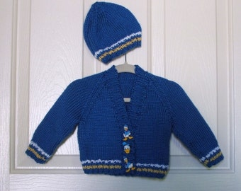 Hand Knitted - Blue Baby Sweater with Yellow and White Trim and Donald Duck Butons