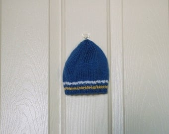 Hand Knitted - Baby Hat in Blue with Yellow and White Trim