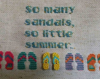 Sandals vs. Summer Cross Stitch pattern chart flip flops seasonal