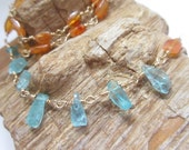 Ocean Blue Apatite Layering Necklace Crystal Shards and Warm Faceted Carnelian 14k Gold Filled 30 Inches OOAK