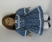 Blue and White Civil War Dress and Pantaloons, Fits 18 Inch American Girl Dolls