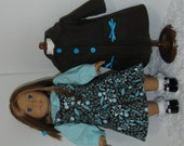 Brown and Aqua Coat, Jumper, and Blouse, Fits 18 Inch American Girl Dolls