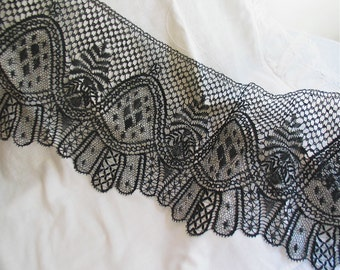 """Antique Bobbin Lace Trim in Black/Handmade French Lace 5 Yards + 28"""" Linen Lace"""